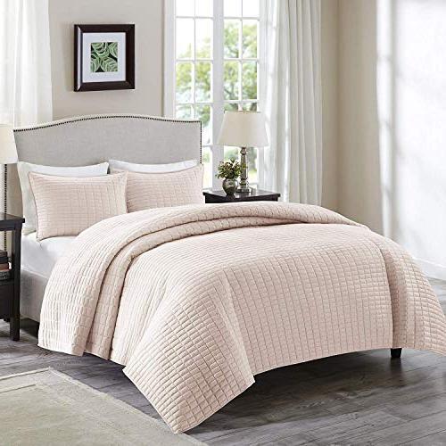 Comfort Spaces - Kienna Quilt Mini Set - 2 Piece - Blush - S