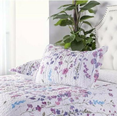 Bedsure King 3-Piece Set Coverlet Floral Elegant Purple & Pink