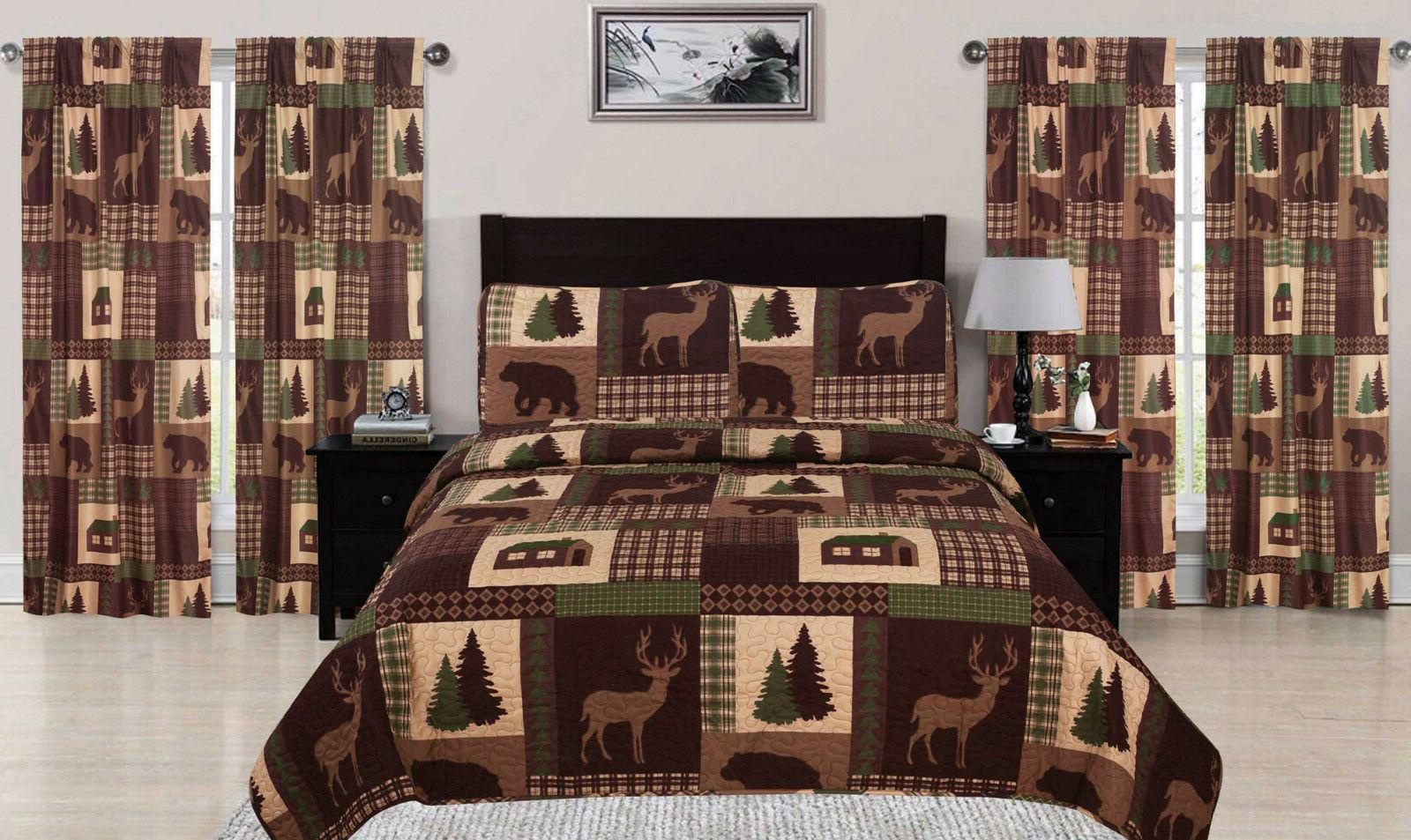 King, Queen, or Quilt Set Lodge Deer Coverlet Bedspread