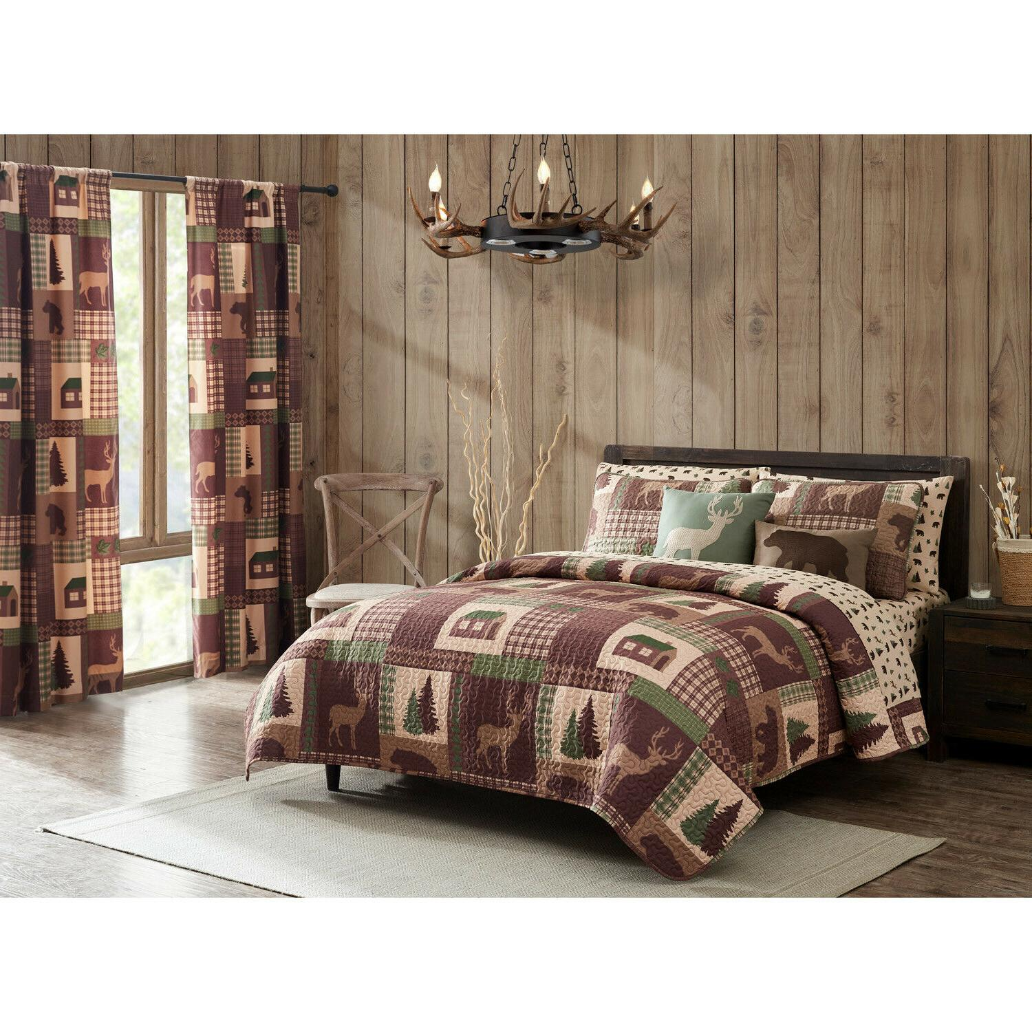 King, Queen, or Quilt Set Rustic Lodge Bedspread