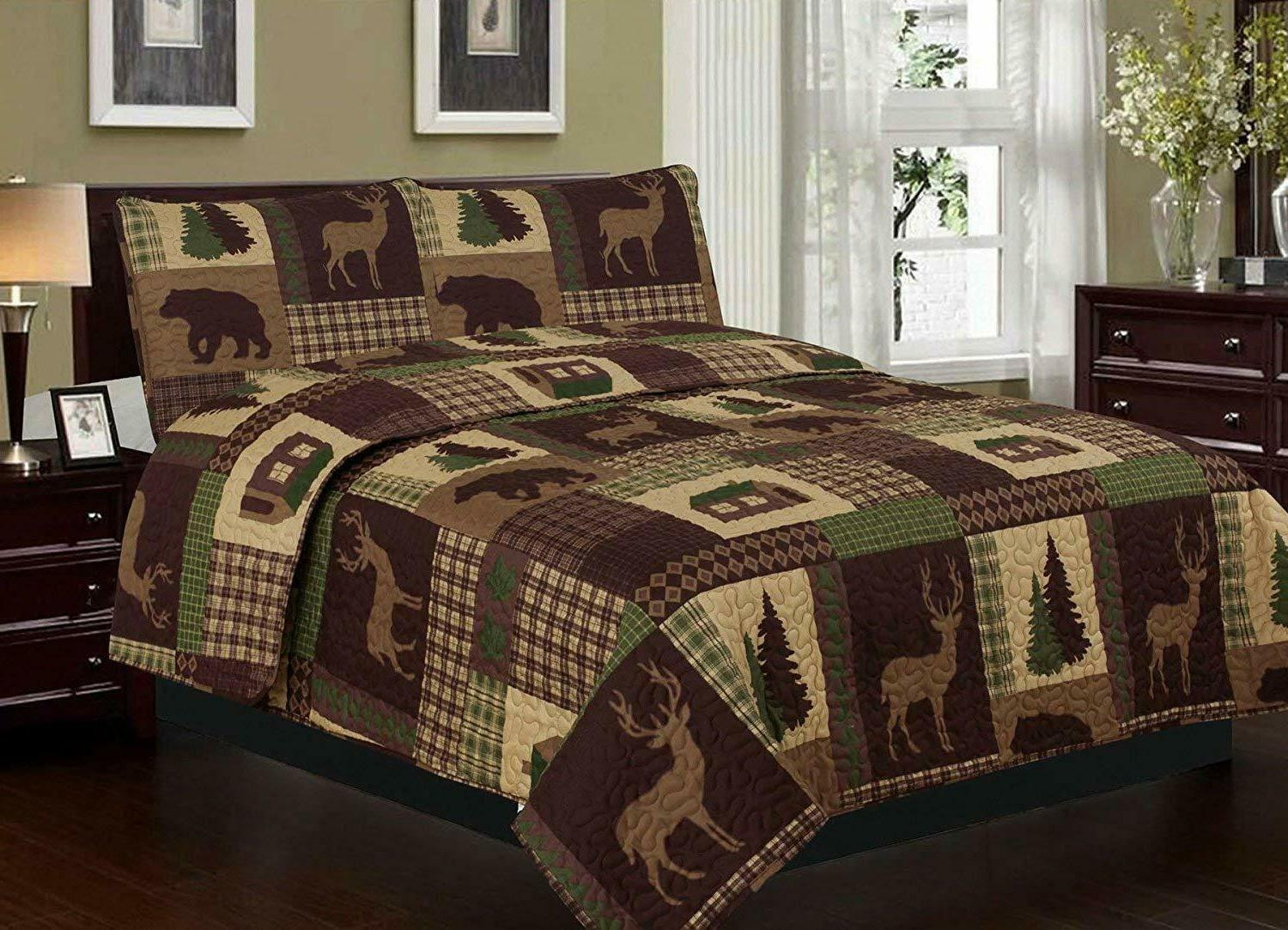 King, Queen, Quilt Rustic Cabin Lodge Deer Bedspread
