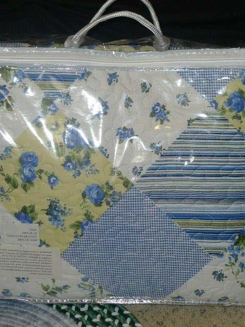King Quilt & Sham Set Blue Yellow White Patchwork Design 3 p
