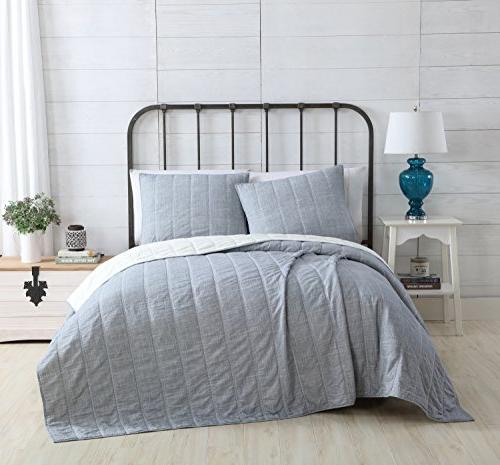 King Embossed Pinstripe Design Charcoal ; pc Set Includes Quilt 2