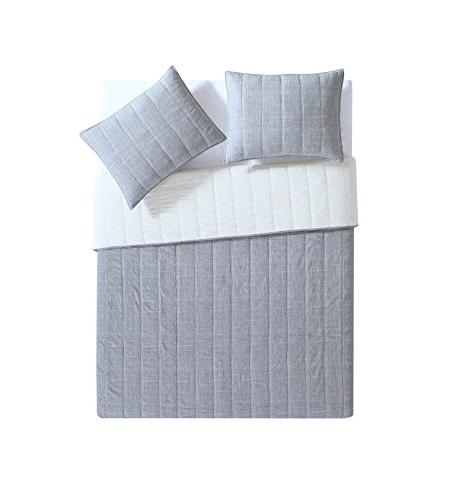 King Quilt Embossed Charcoal Grey ; 3 pc Set Reversible Quilt Shams