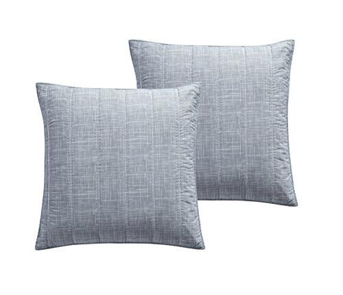King Quilt Set Embossed Pinstripe Design Lightweight Luxurious Charcoal Grey pc Set Includes Reversible Quilt Pillow Shams