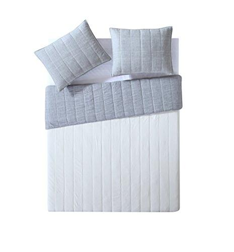 King Quilt Embossed Lightweight Luxurious in Charcoal ; 3 pc Quilt , Shams