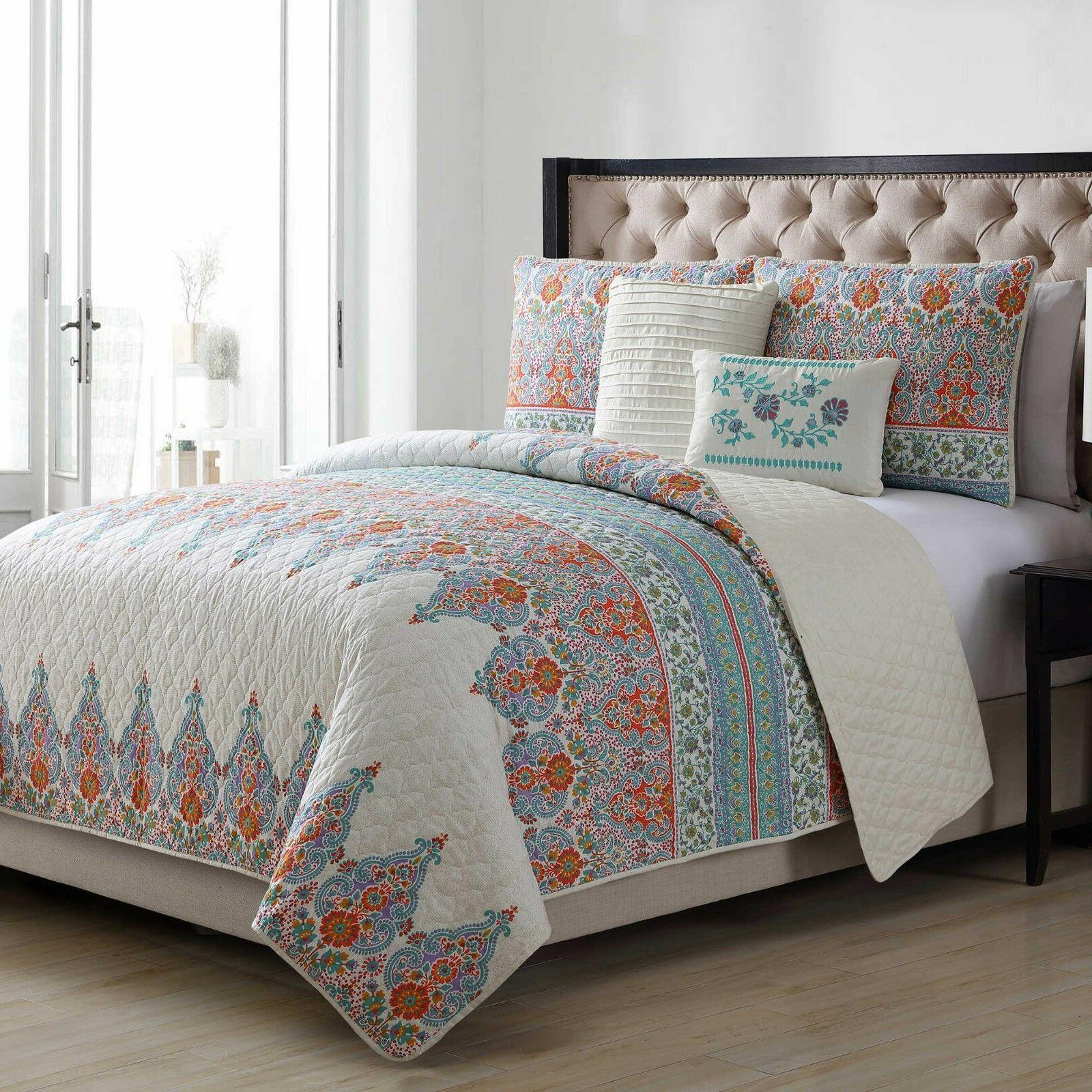 King Quilt Set VCNY Home Andrea Reversible in Jade/Orange 5