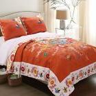 King Size Bohemian Floral Oversized Orange Folk Art Quilt Se