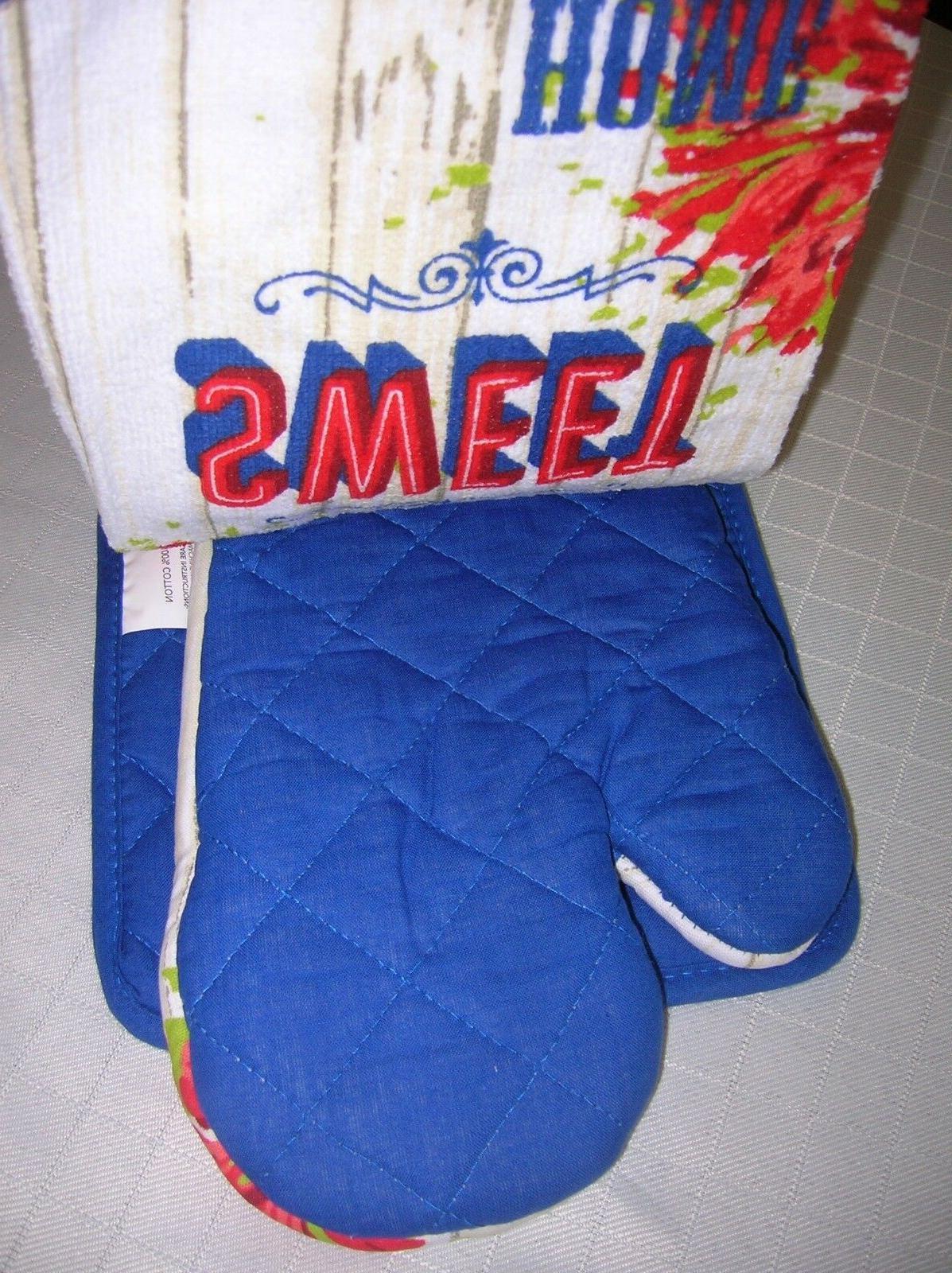 Kitchen SET mitt-pot holder-towel- QUILTED