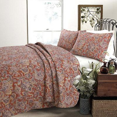 Cozy Line Home Fashion Lara Spice Paisley 3 Piece Reversible