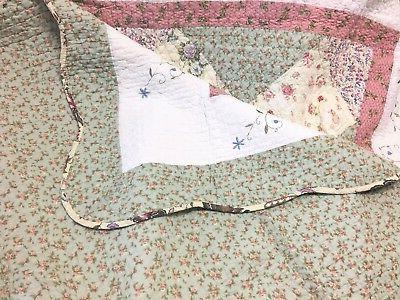 Laura Celadon Reversible 100%Cotton Quilt Bedspread Coverlet