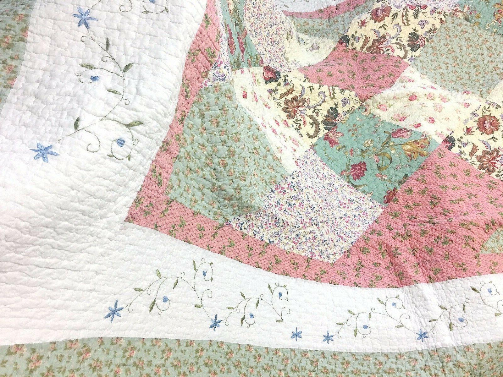 Laura Celadon Real Reversible Quilt Bedspread Coverlet