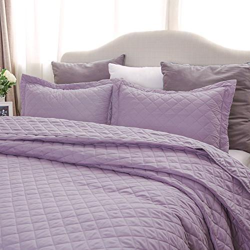 Lavender Bedding Quilt King Pattern 3 Set