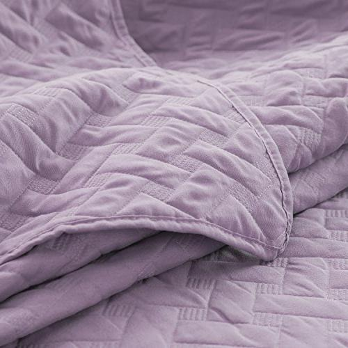 "Purple Coverlet Set Luxury Bedding Twin 68""x86"" Lavender Basketweave Microfiber"