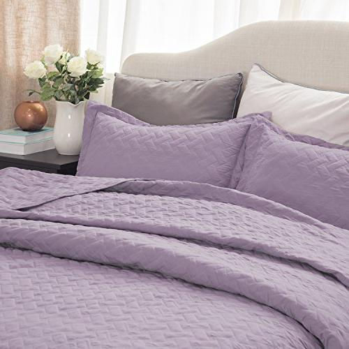 "Purple Luxury Bedding Quilt 68""x86"" Basketweave Lightweight"