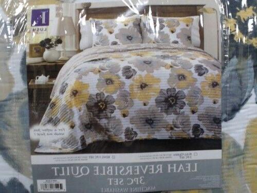 Lush Decor Leah 3 Piece Set Quilt, Full/Queen, Yellow/Gray