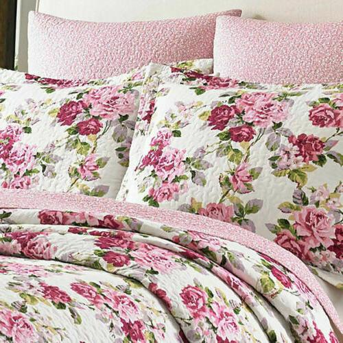 Laura Pink Lilac Cotton Quilt Set