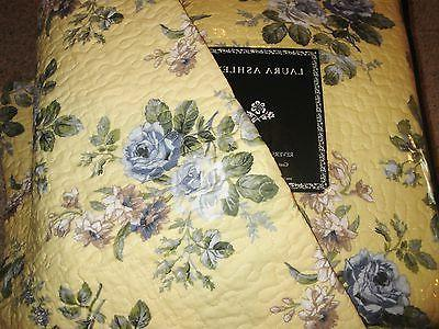 LAURA ASHLEY Linley YELLOW BLUE FLORAL ROSE Twin 2pc Quilt S