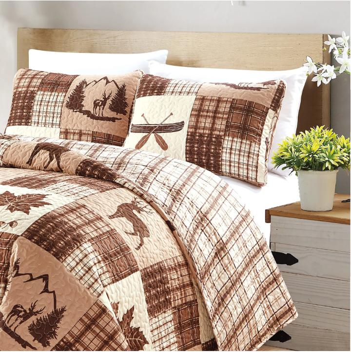 Lodge Cotton Plaid Brown Patchwork Bedding 3 Piece