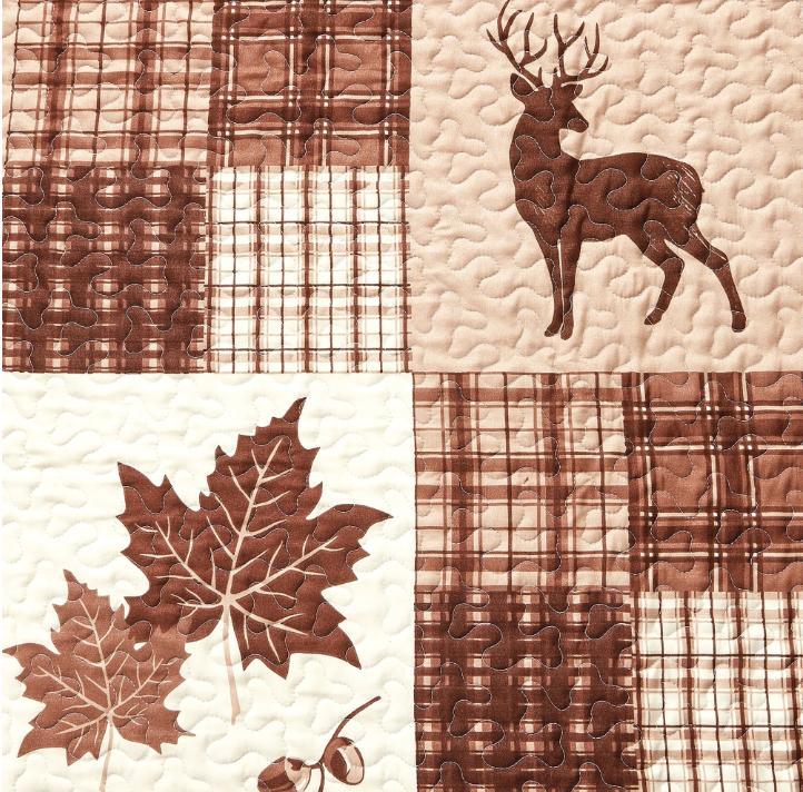 Lodge Cabin Lake Cotton Plaid Brown Bedding Set Piece