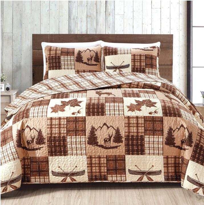 Lodge Cabin Lake Nature Cotton Plaid Brown Bedding Quilt Piece