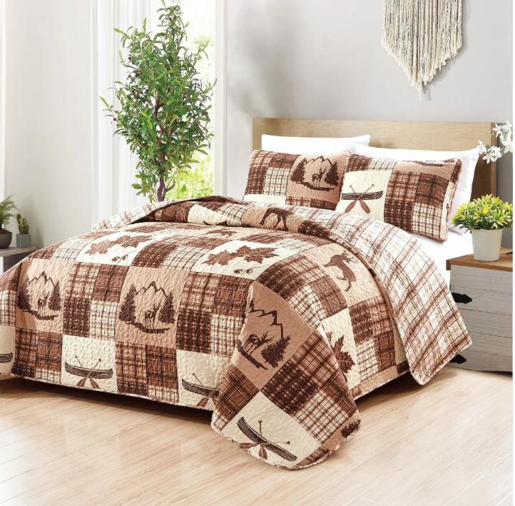 lodge cabin lake nature cotton plaid brown