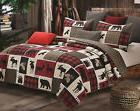 lodge life 3pc king quilt set black