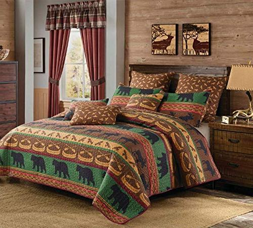 Virah Bella 3pc Pillow Shams Set; Bear Cabin