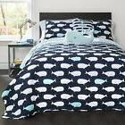 Lush Decor 4 Piece Whale Quilt Set, Twin, Navy