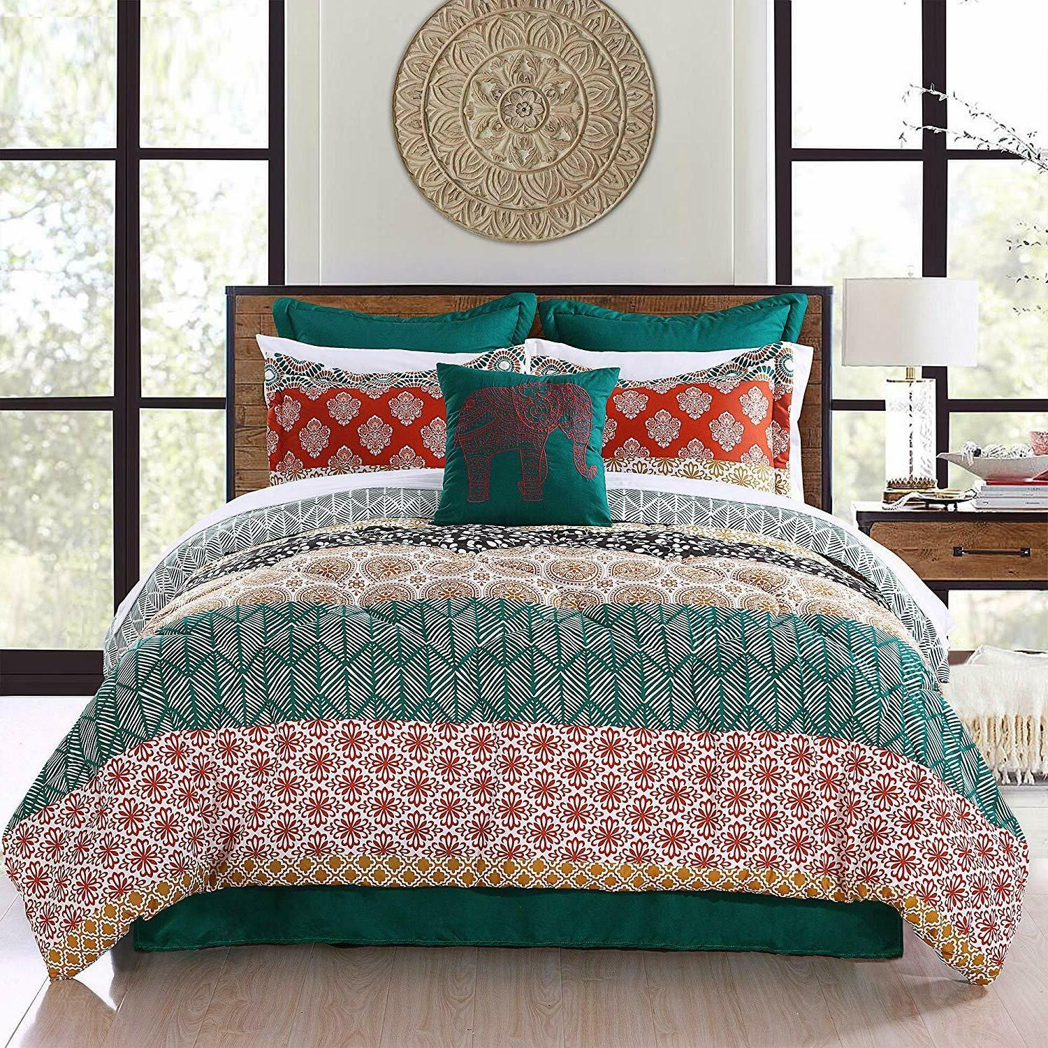 Lush Decor Bohemian Striped Quilt Reversible 3 Piece Bedding