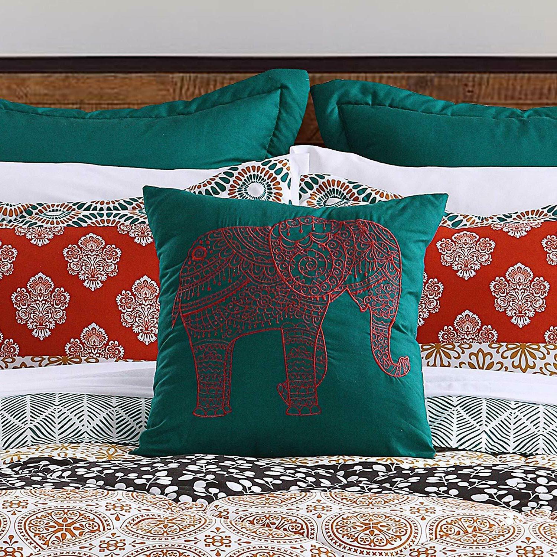 Lush Bohemian Striped Quilt Piece Bedding