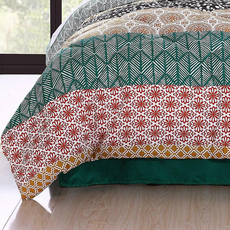 Lush Decor Bohemian Quilt Reversible Piece Bedding Set,