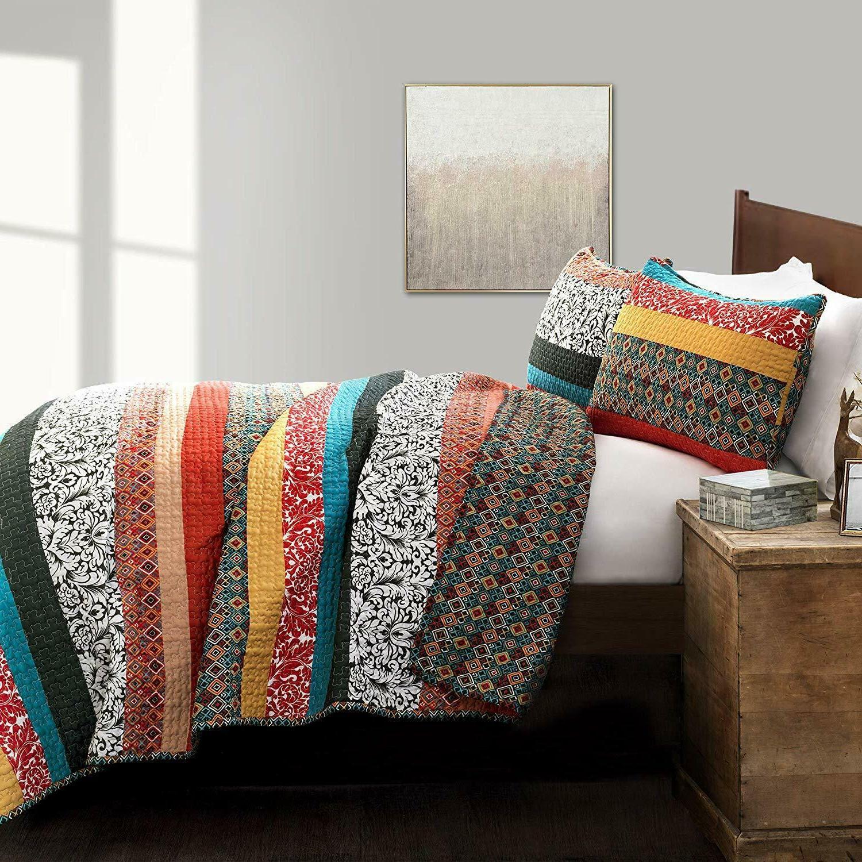 Lush Decor Boho Stripe Quilt Bohemian -