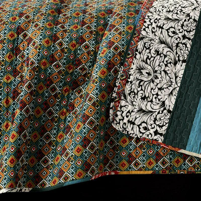 Lush Boho Stripe Quilt Bohemian Design -