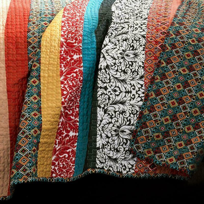 Lush Boho Stripe Quilt Reversible Piece Bohemian Design Bedding Set - Ki