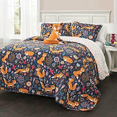 Lush Decor Pixie Fox Quilt Reversible 4 Piece Bedding Set-Na