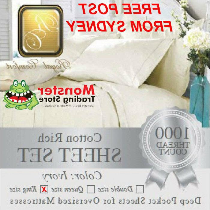 ROYAL COMFORT LUXURY 1000-THREAD COUNT IVORY COTTON RICH SHE