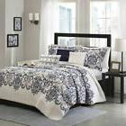 Luxury 6pc Navy Blue & Grey Paisley Coverlet Quilt Set AND D