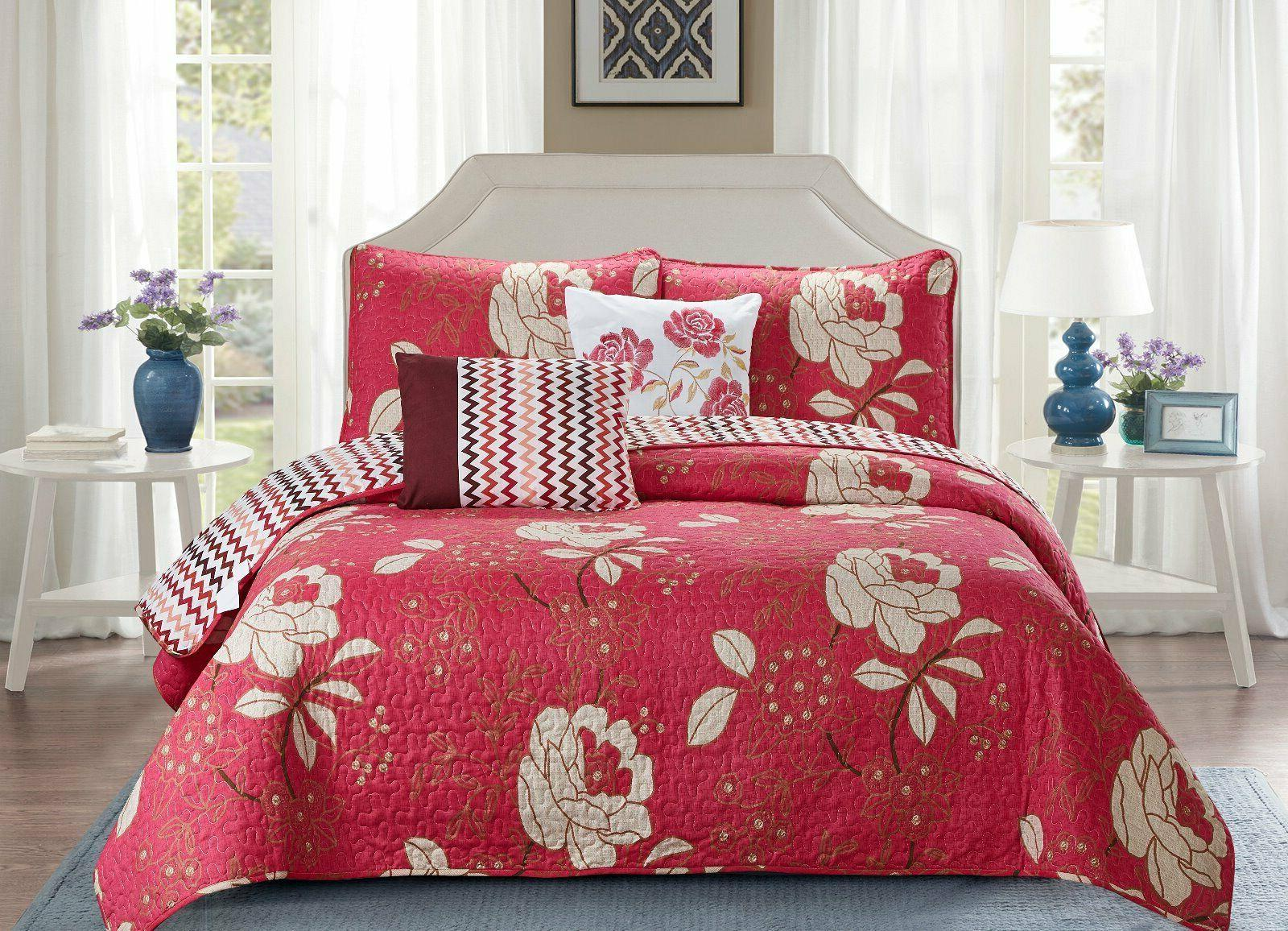 5 Piece Beautiful Madison Red Floral Reversible Design Bedsp