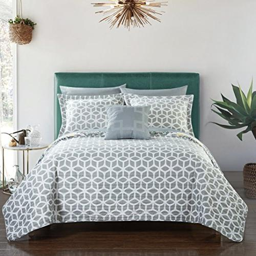 Chic Home Madrid 4 Piece Quilt Set Geometric Pattern Full/Queen