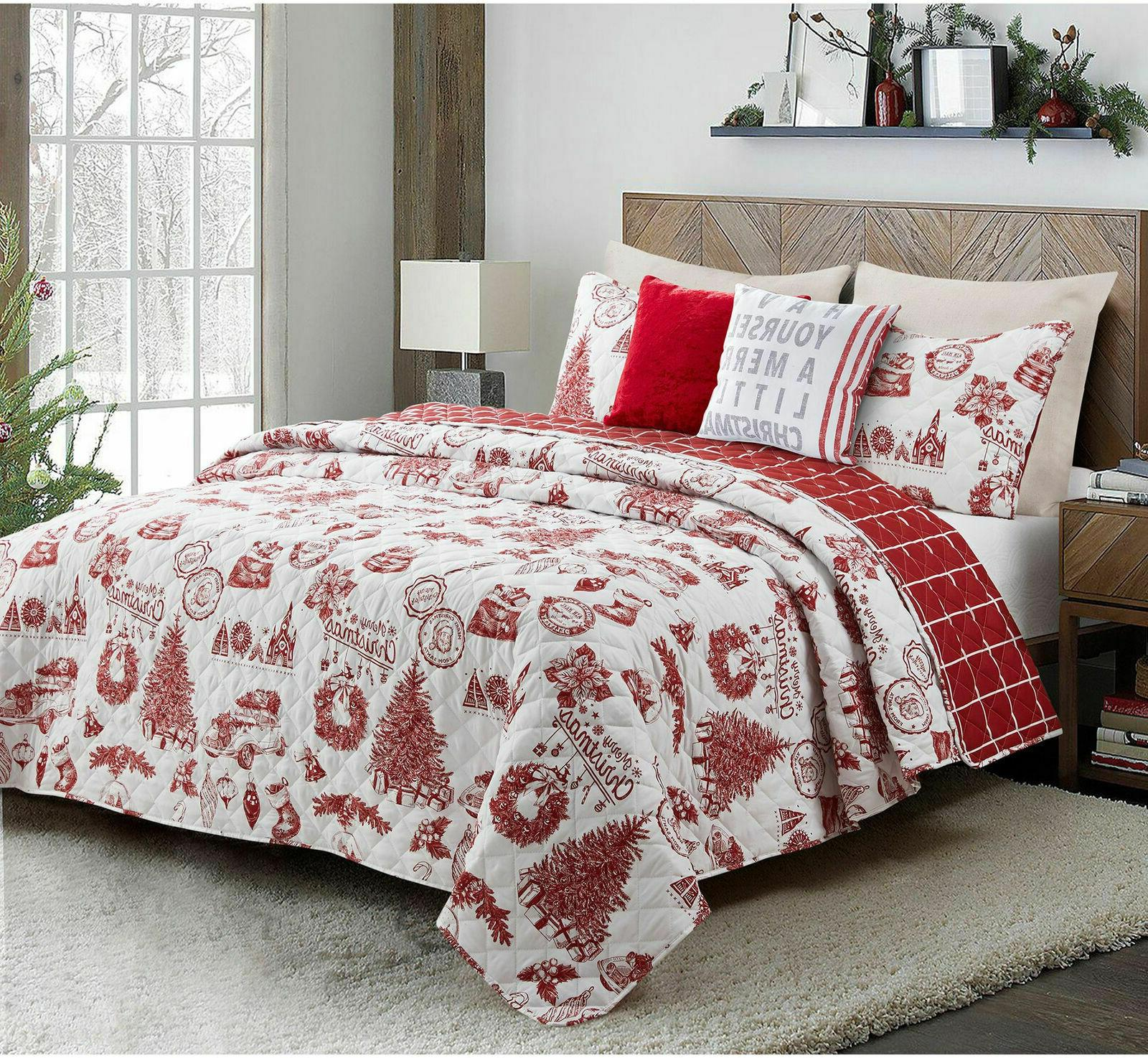 Merry Christmas Holiday Festival Reversible 5-Piece King Qui