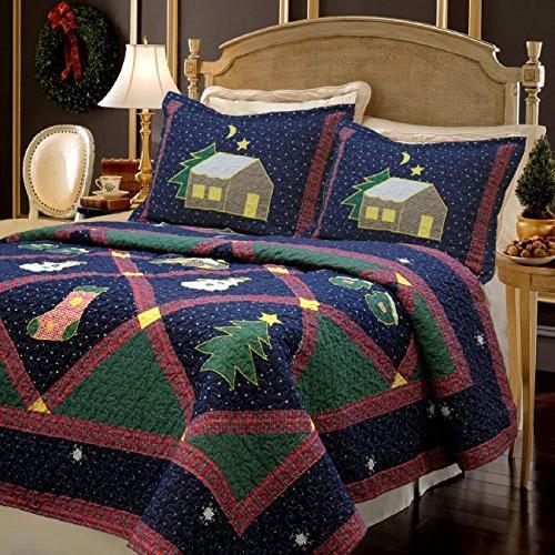 merry yuletide village patterned patchwork