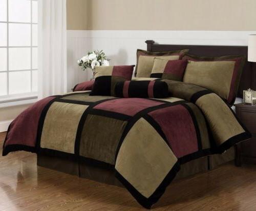 micro suede patchwork comforter set