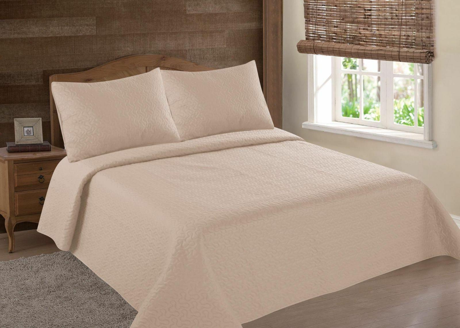 MIDWEST TAUPE CAMEL NENA SOLID QUILT BEDDING BEDSPREAD COVER