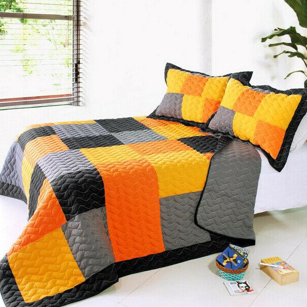mild winter 3pc vermicelli quilted patchwork quilt