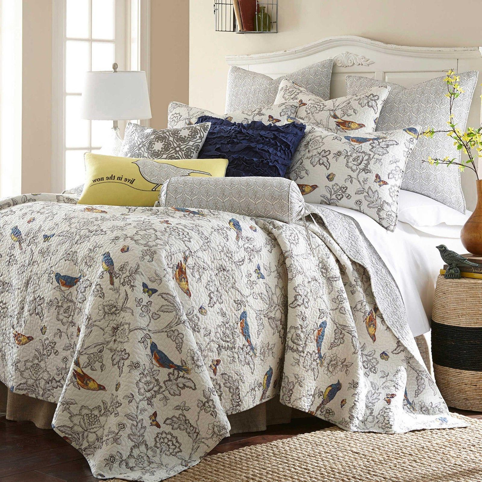 Levtex Home Mockingbird Reversible Quilt Set Grey Full/Queen