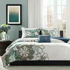 MODERN GREY BLUE SEA GREEN WHITE STRIPE FLORAL QUILT SET FUL