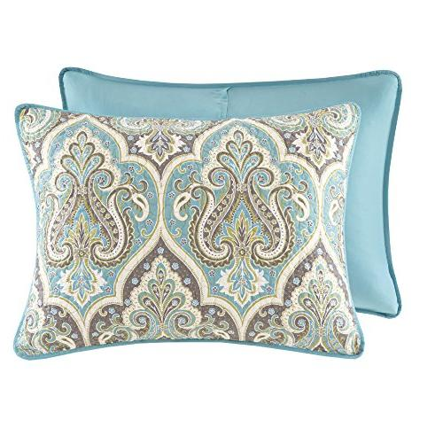 Comfort Spaces - Cotton Mini Set - Piece Paisley - Grey King/California King Size, Includes 2 Shams