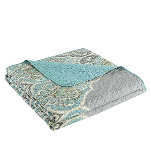 Comfort Spaces - Cotton Quilt - Paisley Grey Size, 2