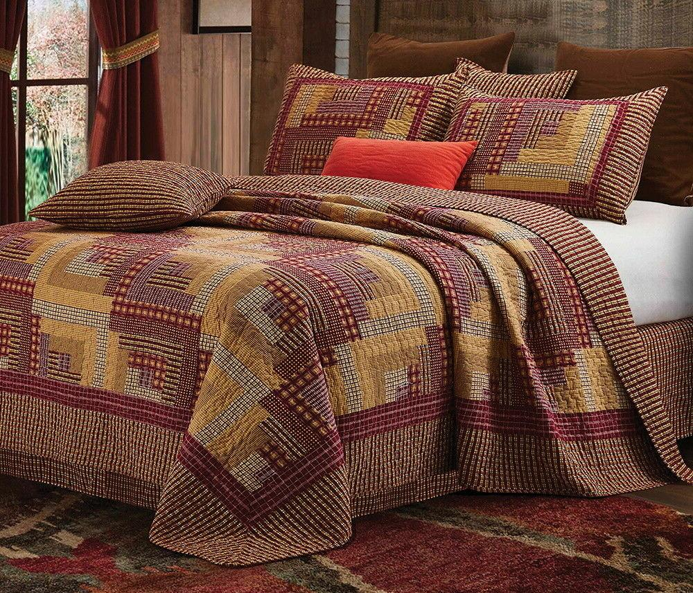montana cabin red tan quilt
